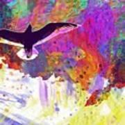 Seagull Blue Sky Freedom Air Fly  Art Print