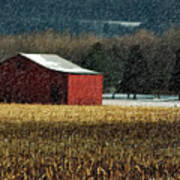 Snowy Red Barn In Winter Art Print