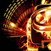 Sports Car In Flames Print by Oleksiy Maksymenko