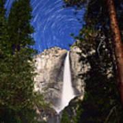Star Trails At Yosemite Falls Art Print