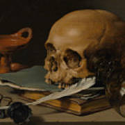 Still Life With A Skull And A Writing Quill Art Print