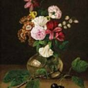 Still Life With Flowers In A Glass Vase And Cherry Twig Art Print