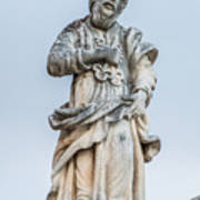 Stone Statue In The Old Town Perast  Art Print
