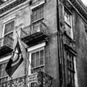 2 Story Building New Orleans Black White  Art Print