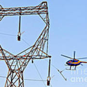 Stringing Power Cable By Helicopter Art Print