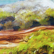 Structure Of Wooden Log Covered With Moss On The Riverside, Closeup Painting Detail. Art Print