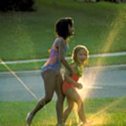 Summer Fun In A Sprinkler Art Print