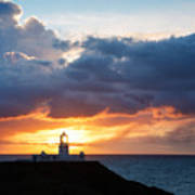 Sunset At Strumble Head Lighthouse Art Print