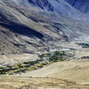 Tangsey Village Landscape Of Leh Ladakh Jammu And Kashmir India Art Print