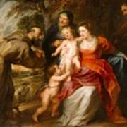 The Holy Family With Saints Francis And Anne And The Infant Saint John The Baptist Art Print
