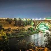 The Monroe Street Dam And Bridge At Night, In Spokane, Washingto Art Print