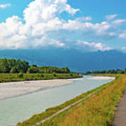 The River Rhine Between Liechtenstien And Switzerland Art Print