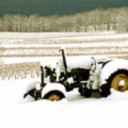 Tractor In Snowy Vineyard Art Print