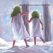 Two Sisters Jumping On The Bed  Art Print