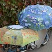 2 Umbrellas On Motorcycle  Art Print