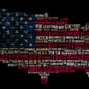 Usa Main Cities Flag Map Print by Cedric Darrigrand