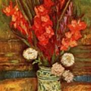 Vase With Red Gladioli  Art Print