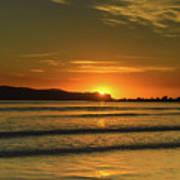 Vibrant Orange Sunrise Seascape Art Print