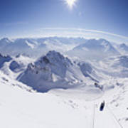 View From Summit Of Valluga, St Saint Anton Am Arlberg Austria Art Print