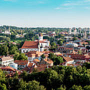 view of downtown in Vilnius city, Lithuanian Art Print