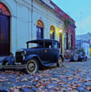 Vintage Cars In Colonia Del Sacramento, Uruguay Art Print
