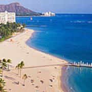Waikiki Beach And Diamond Head Art Print