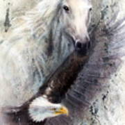 White Horse With A Flying Eagle Beautiful Painting Illustration Art Print