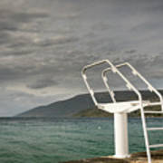 White Ladder Of A Diving Board At The Beach In Cres Art Print