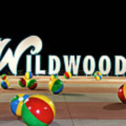 Wildwood's Sign At Night On The Boardwalk  Art Print
