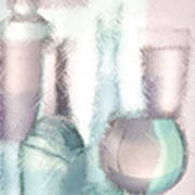 Wine Glasses And Bottles Of Drinks  Art Print