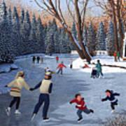 Winter Fun At Bowness Park Art Print
