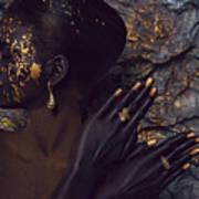 Woman In Splattered Golden Facial Paint Art Print