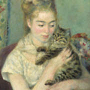 Woman With A Cat Art Print