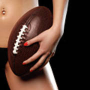 Woman With A Football Art Print