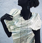 Woman With Black Boby Paint In Paper Dress Art Print