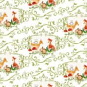 Woodland Fairytale - Animals Deer Owl Fox Bunny N Mushrooms Art Print