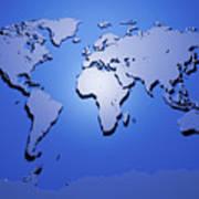 World Map In Blue Art Print