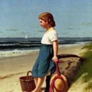Young Girl At The Seashore Art Print