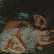 Young Ladies On The Bank Of The Seine Art Print