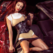Young Woman In A Crashed Car Art Print