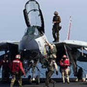 An F-14d Tomcat On The Flight Deck Print by Gert Kromhout