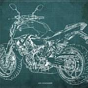 2018 Yamaha Mt07 Blueprint Green Background Fathers Day Gift Art Print