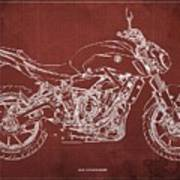 2018 Yamaha Mt07 Blueprint  Red Background Fathers Day Gift Art Print