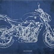 2018 Yamaha Mt07,blueprint,blue Background,fathers Day Gift Art Print