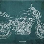2018 Yamaha Mt07,blueprint,green Background,fathers Day Gift,2018 Art Print