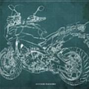 2018 Yamaha Tracer 900gt Blueprint Green Background Art Print