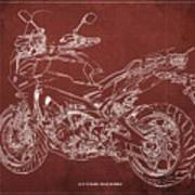 2018 Yamaha Tracer 900gt Blueprint Red Background Gift For Dad Art Print