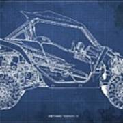 2018 Yamaha Wolverine X4 Blueprint Blue Background Gift For Dad Art Print