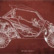 2018 Yamaha Wolverine X4 Blueprint Red Background Gift For Him Art Print