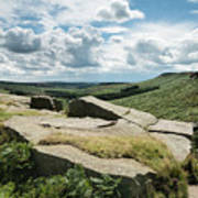 Beautiful Vibrant Landscape Image Of Burbage Edge And Rocks In S Art Print